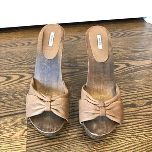Miu Miu Leather and Wood Sandals